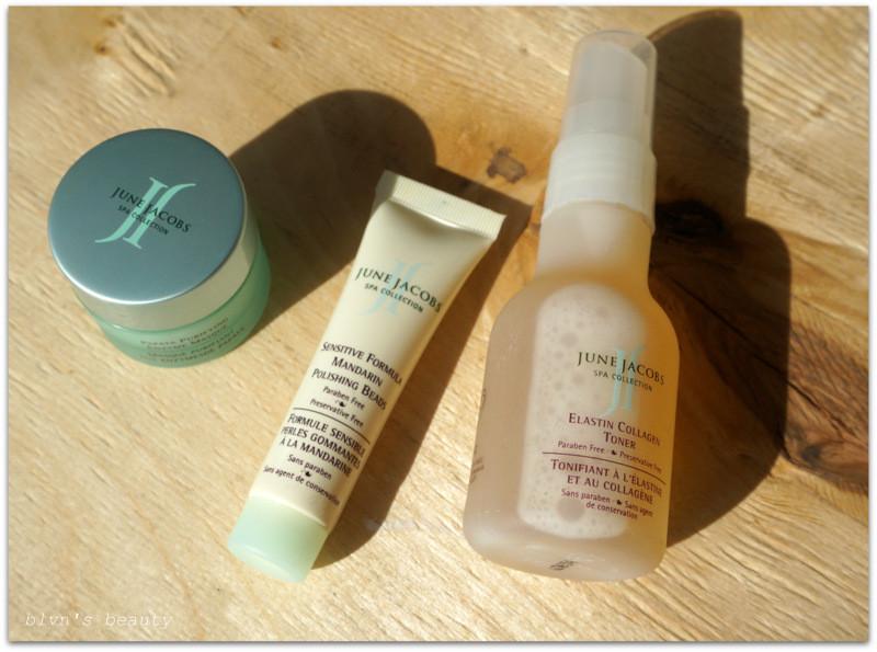 June Jacobs: Elastin Collagen Toner,Sensitive Formula Mandarin Polishing Beads, Papaya Purifying Enzyme Masque