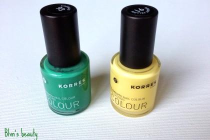Korres myrrh oligoelements nail colour Emerald and Bright Yellow